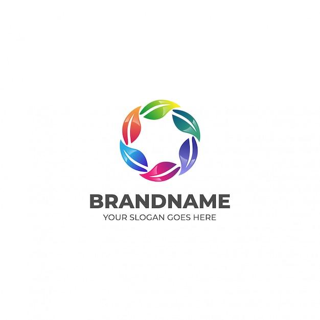 Szablon logo streszczenie kolorowy liść