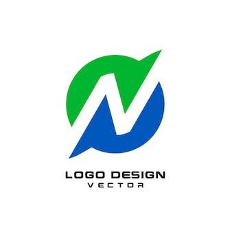 Szablon logo streszczenie litera n.