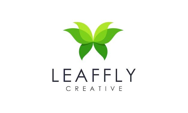 Szablon logo streszczenie motyl liść