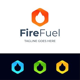 Szablon logo streszczenie sześciokąt ognia