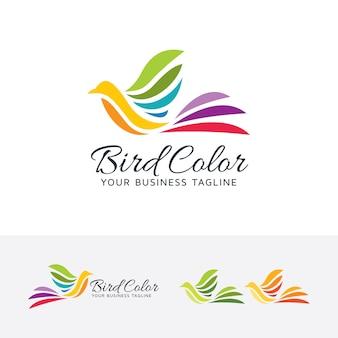 Szablon logo streszczenie wektor kolor ptaków