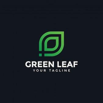 Szablon logo streszczenie zielony liść