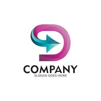 Szablon logo strzałki litery d. logo litery d z symbolem strzałki