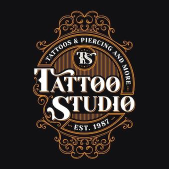 Szablon logo studio tatuażu w stylu vintage