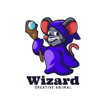 Szablon logo stylu cartoon maskotka myszy czarodzieja