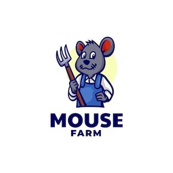 Szablon logo stylu kreskówek maskotka farmy myszy