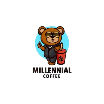 Szablon logo stylu kreskówek maskotka kawy misia