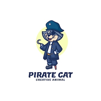 Szablon logo stylu kreskówek maskotka pirat kot