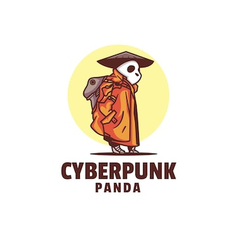 Szablon logo stylu kreskówka maskotka cyberpunk
