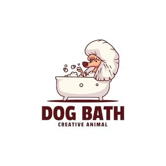 Szablon logo stylu kreskówka maskotka do kąpieli psa