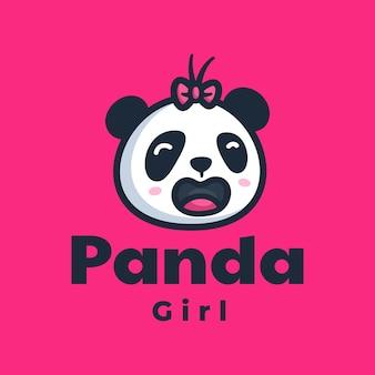 Szablon logo stylu kreskówka maskotka panda