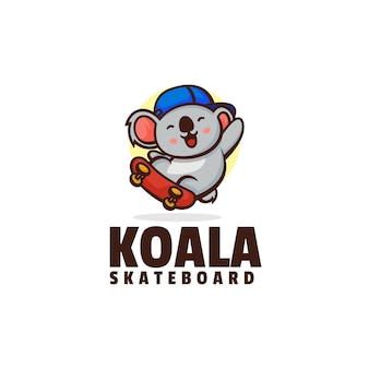 Szablon Logo Stylu Kreskówki Koala Deskorolka Maskotka Premium Wektorów
