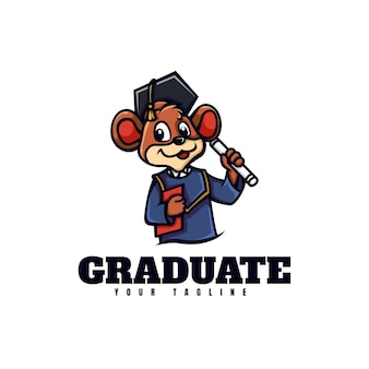Szablon logo stylu kreskówki maskotka absolwenta myszy