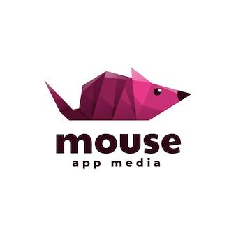 Szablon logo stylu mouse low poly