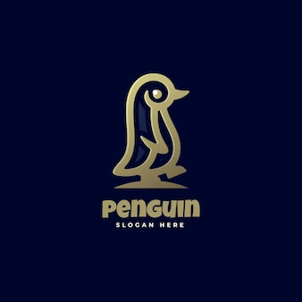Szablon logo stylu sztuki linii pingwina