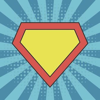 Szablon logo superbohatera na komiksowym tle sunburst z efektami półtonów w kropki