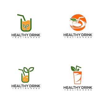 Szablon logo świeżych i kolorowych zdrowych napojów