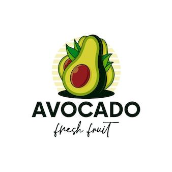 Szablon logo świeżych owoców awokado na białym tle