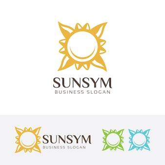 Szablon logo symbol słońce