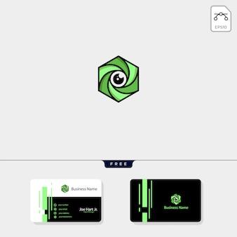 Szablon logo sześciokąt fotografii