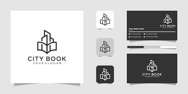 Szablon logo sztuki linii książki miasta lub książki domowej i wizytówki