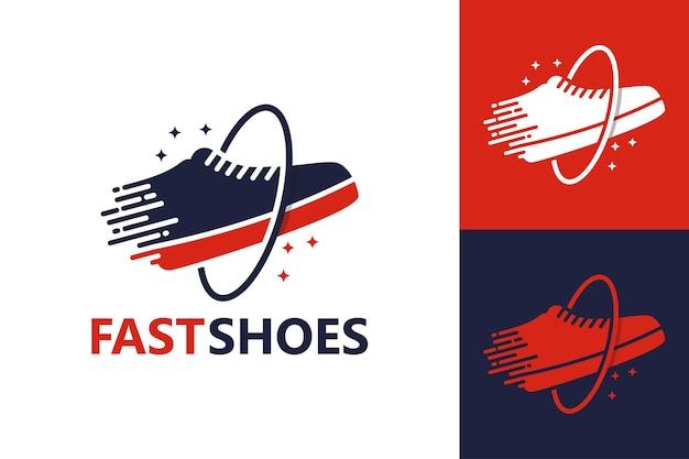 Szablon logo szybkich butów wektor premium