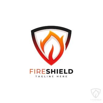 Szablon logo tarcza ognia