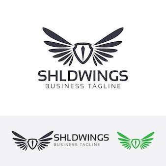 Szablon logo tarcza skrzydła