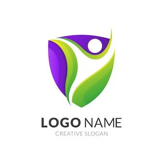 Szablon logo tarczy i ludzi, nowoczesny styl logo 3d w kolorze gradientu zieleni i fioletu