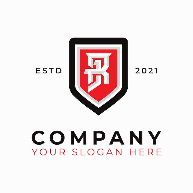 Szablon logo tarczy klasycznej litery rj