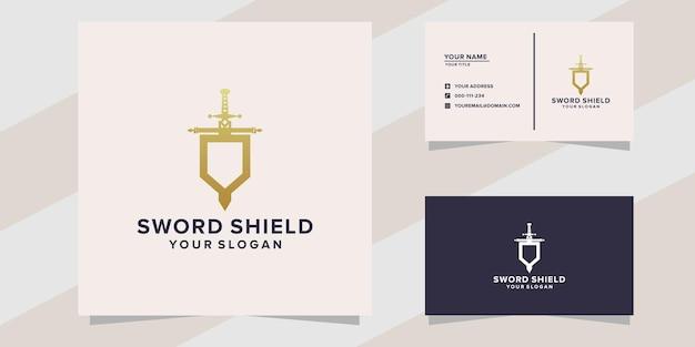 Szablon logo tarczy miecza