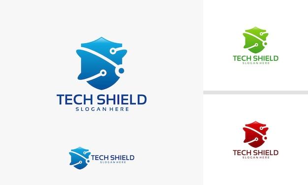 Szablon logo tarczy technologii, logo ochrony cyfrowej
