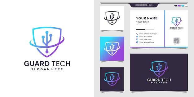 Szablon logo tarczy z kreatywną koncepcją i projektowaniem wizytówek.