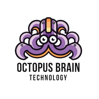 Szablon logo technologia ośmiornicy mózgu