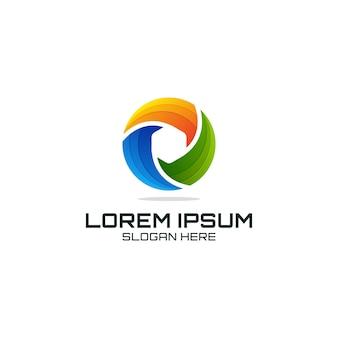 Szablon logo technologii kolorowe koło