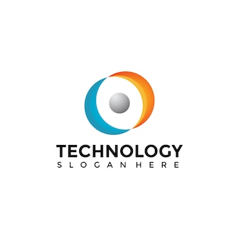 Szablon logo technologii streszczenie ludzi technologii