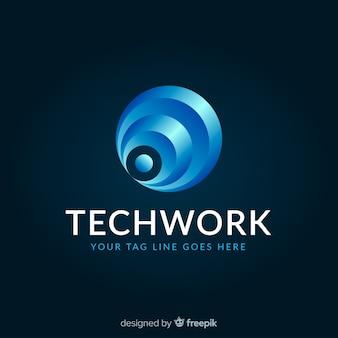 Szablon logo technologii z abstrakcyjnych kształtów