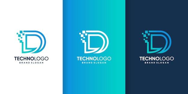 Szablon logo technologii z inicjałami d dla firmy premium wektorów
