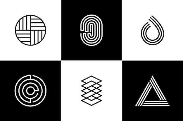Szablon logo tożsamości korporacyjnej kształty liniowe