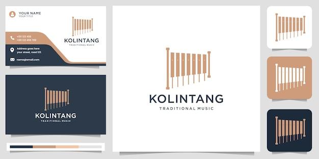 Szablon logo tradycyjnego instrumentu indonezyjskiego instrumenty muzyczne klasyczny projekt logo z szablonem wizytówki wektor premium
