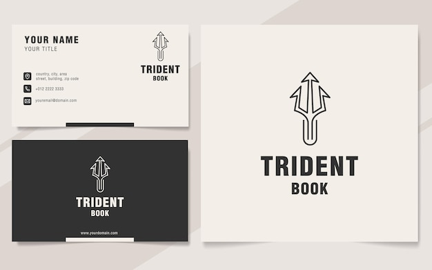Szablon logo trident book w stylu monogram
