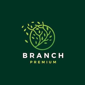 Szablon logo trzy gałęzie koło liścia drzewa