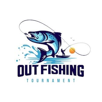 Szablon logo turnieju wędkarskiego na białym tle