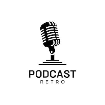 Szablon logo użytkowego retro podcast.