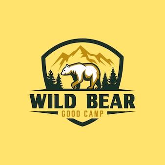 Szablon logo vintage bear