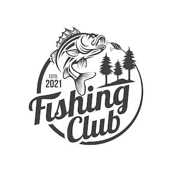 Szablon logo vintage połowów na białym tle