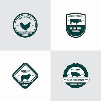 Szablon logo vintage rzeźni lub sklepu mięsnego