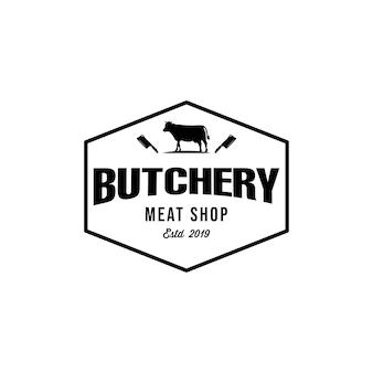 Szablon logo vintage sklep rzeźniczy lub mięsny.