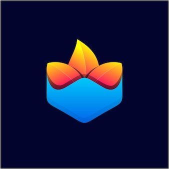Szablon logo w kolorze gradientu liści
