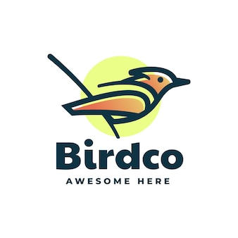 Szablon logo w stylu linii gradientu ptaka